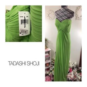 NWT Tadashi Lime Green Silk Strapless Dress